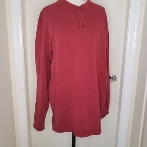 ROOTS Athletics long sleeve red half button top